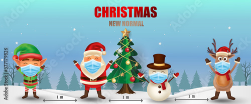 Obraz Merry Christmas and happy new year. Christmas new normal concept with Elf, Santa Claus, Snowman and Reindeer. Corona virus protection.  -Vector - fototapety do salonu