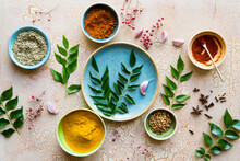 Culinary Spices And Herbs With...