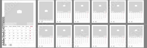 Fototapeta Wall Monthly Photo Calendar 2021. Corporate and business calendar. Simple monthly table photo calendar Layout for 2021 in English. Cover and 12 monthes calendar templates. Week starts from Monday. obraz na płótnie