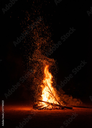 Camp fire in the night Wallpaper Mural