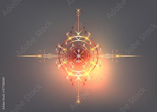 Fotografia Magic ancient viking art deco, Vegvisir magic navigation compass ancient