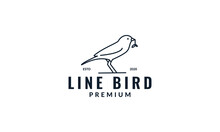 Minimalist Canary Bird Line With Leaves Logo Design