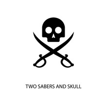 Icon Black Sign Two Sabers And Skull. Vector Illustration Eps 10