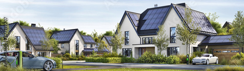Foto Street of beautiful residential houses with rooftop solar panels and electric ca