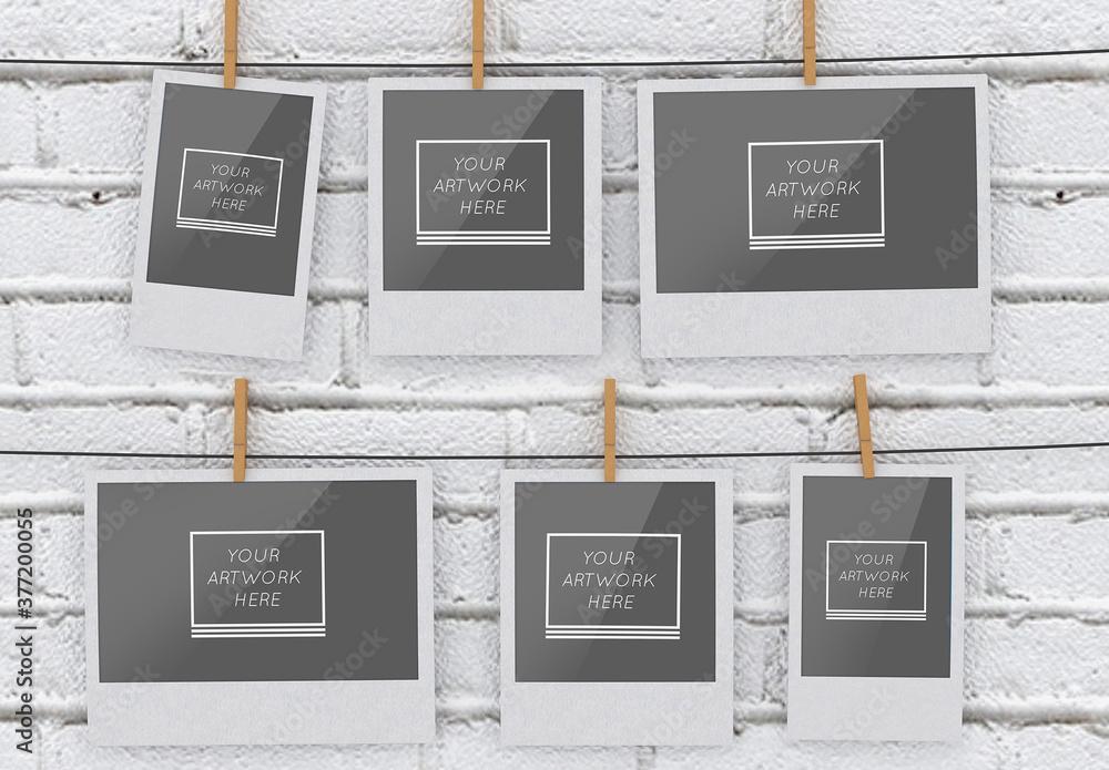 Fototapeta 6 Instant Hanging Photos Mockup on White Brick Wall