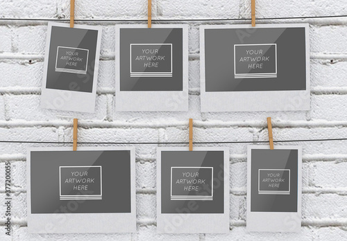 6 Instant Hanging Photos Mockup on White Brick Wall