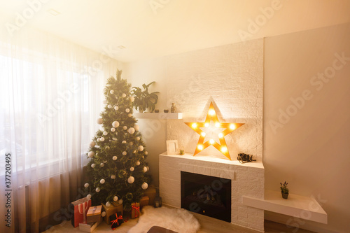 Canvas Print Christmas tree in modern living room warm feeling