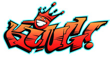 Vector King Word Lettering In Urban Graffiti Style In Customizable Colors