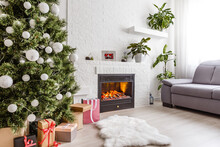 Fireplace And Christmas Tree W...