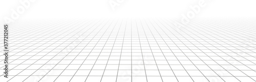 Fotografiet Vector perspective mesh. Detailed grid lines on white background.