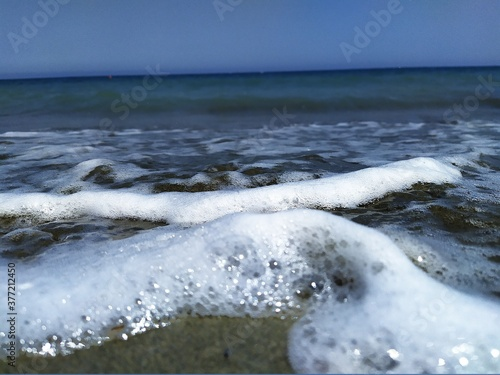 the sea is a bottomless world.quiet rustle of coastal waves. Canvas-taulu