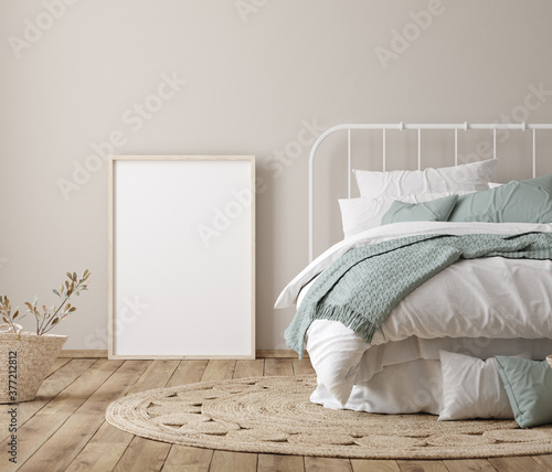Frame mock up in farmhouse bedroom interior,  3d render	  - 377212812