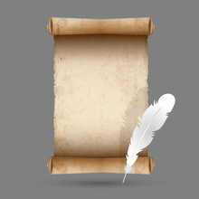 Old Scroll Paper With Feather