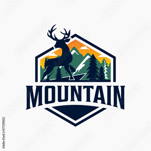 Mountain logo textured vintage vector t-shirt and apparel design, typography, print, logo, poster Canvas Print