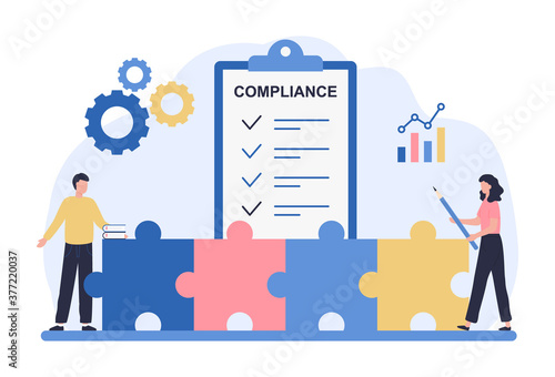 Obraz Regulatory compliance concept. Business people read laws, discuss changes, plan the implementation of rules and the development of the company. Flat vector illustration isolated on white background - fototapety do salonu