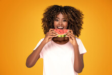 Afro Girl Eating Watermelon .