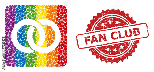Photo Textured Fan Club Seal and LGBT Wedding Rings Mosaic