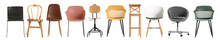 Set Of Different Trendy Chairs On White Background