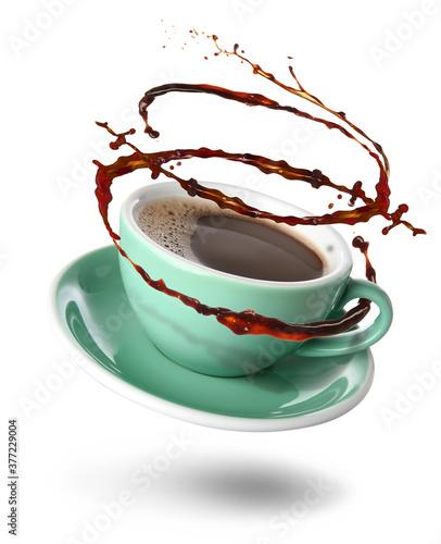 Fototapeta Cup of hot coffee on white background obraz