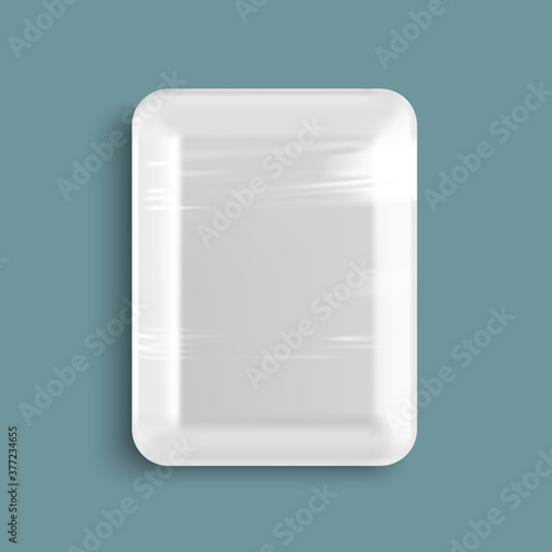 Fototapeta White empty wrapped plastic food tray container