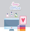home office workplace computer monitor books picture in wall and stickers