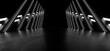 canvas print picture A dark corridor lit by white neon lights. Reflections on the floor and walls. 3d rendering image.