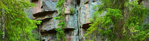 Granite rocks and canyons in Finland, texture close-up Wallpaper Mural