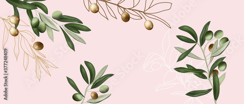 Fototapeta bouquet of olive branch with golden and green in pastel pink background  obraz