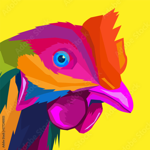 Fotografía colorful rooster pop art portrait, can be used for posters, decoration, wallpape