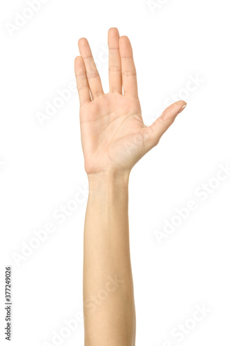 Photo Vulcan salute. Woman hand gesturing isolated on white