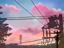 Silhouette Of Electric Pole An...