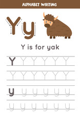Tracing English Alphabet. Letter Y Is For Yak.
