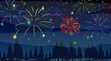 Forest With Celebration Fireworks Scene