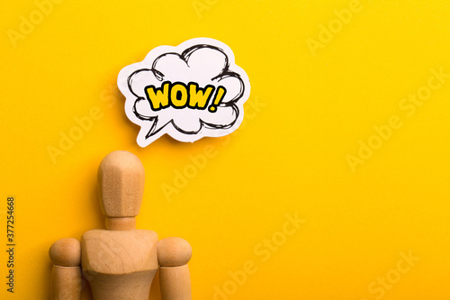 Wow Concept Isolated On Yellow Background Wallpaper Mural
