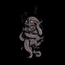 Skull Octopus Illustration, Suitable For T-shirt And Printing Design Template.