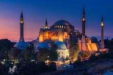 Hagia Sophia At Sunset Light, Istanbul, Turkey