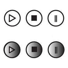 Media Player Icons. Collection Of Multimedia Symbols And Audio, Music Speaker Volume, Interface, Design Media Player Buttons. Play, Pause, Stop, Record, Forward, Rewind. Vector Illustration