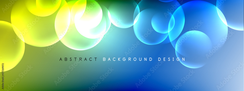 Fototapeta Vector abstract background liquid bubble circles on fluid gradient with shadows and light effects. Shiny design templates for text