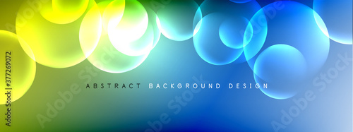Vector abstract background liquid bubble circles on fluid gradient with shadows and light effects. Shiny design templates for text - 377269072