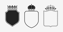 Set Of Crowns With Shields. Bl...