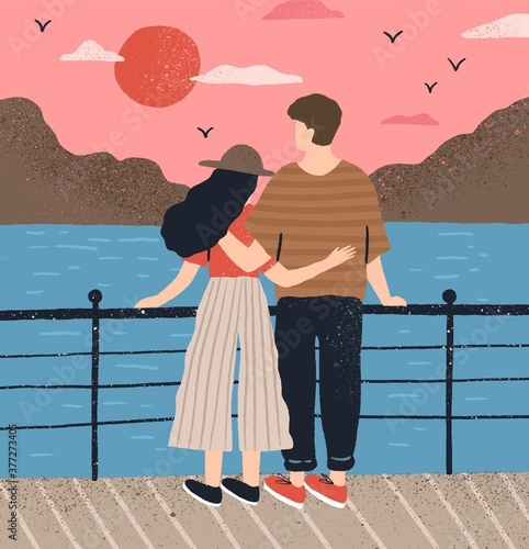 Fotografija Couple hugging standing on waterfront admiring seascape at sunset vector flat illustration