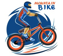 Mountain Bike Symbol. Isolated Vector Object On White Background. A Bike With A Powerful Frame And Wheels. A Cyclist Wearing A Helmet And Protective Elbow And Knee Pads. Inscription.