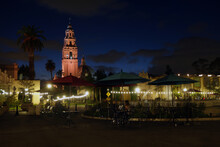 Plaza De Panama In Balboa Park At Night.