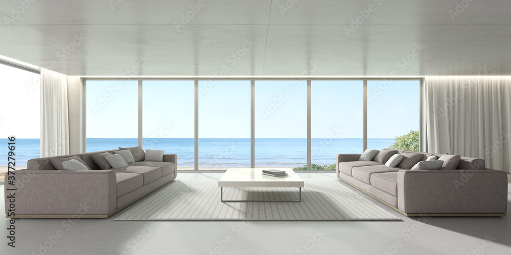 Fototapeta 3d render of modern living room with concrete floor and sofa on sea background, large window panel.