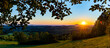 canvas print picture - Panoramaaufnahme Sonnenuntergang mit Hohenstaufen