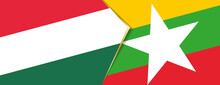 Hungary And Myanmar Flags, Two...