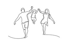 Happy Family In Continuous Line Art Drawing Style. Front View Of Parents With Their Little Kid Holding Hands And Walking Together Black Linear Sketch Isolated On White Background. Vector Illustration