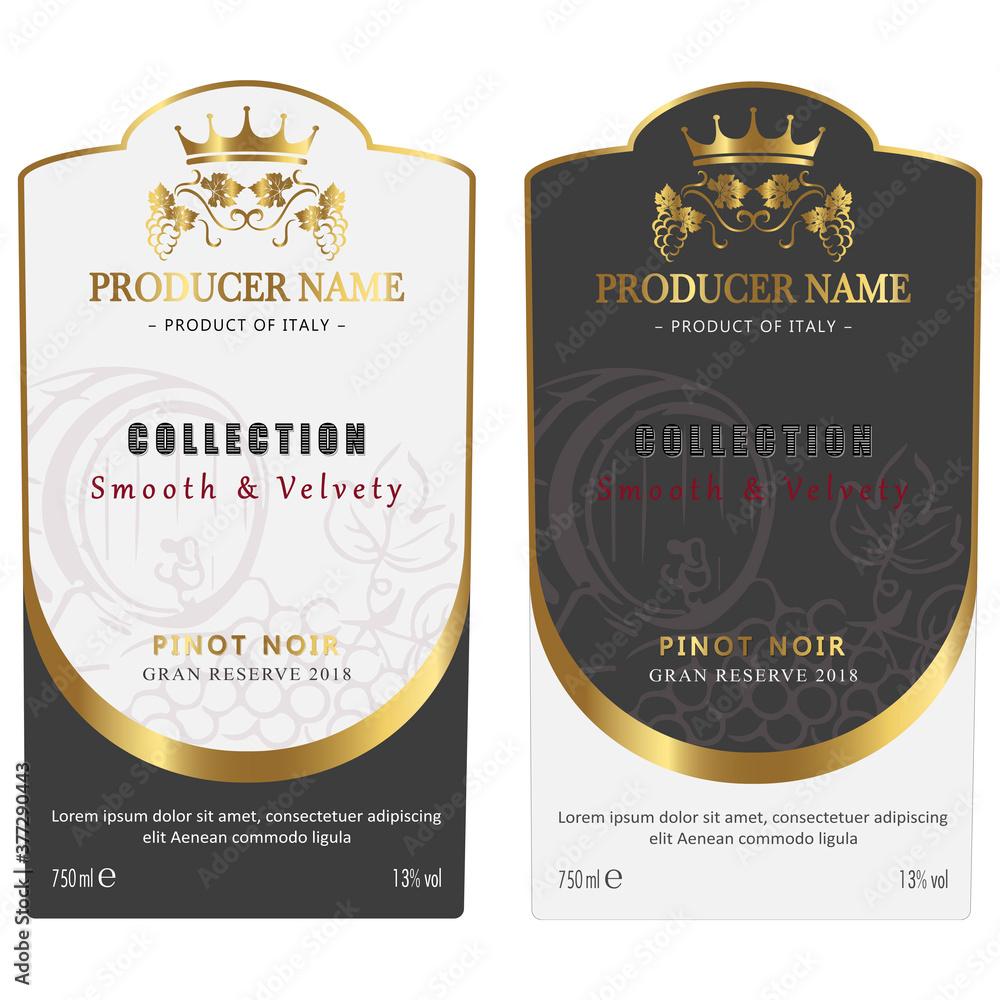 Fototapeta Retro Wine Label Design for Red and White Wine. Set of Vintage label