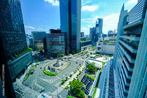 Fototapeta 【愛知県】名古屋駅前 ロータリー都市風景【2020】 obraz