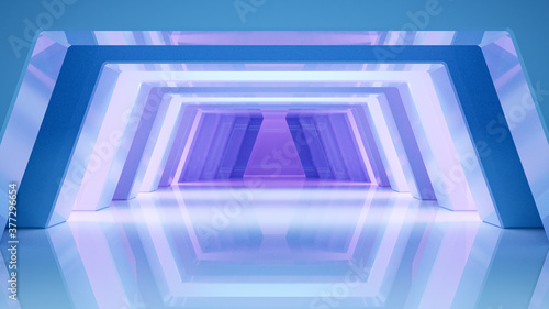 Fototapeta Abstract background futuristic glossy style with blue and violet light, 3d render obraz
